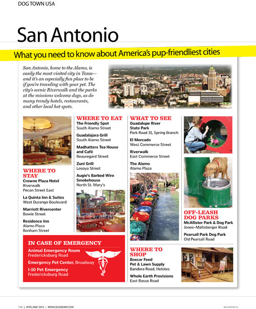 San Antonio, a favorite travel spot of Cesar Millan.